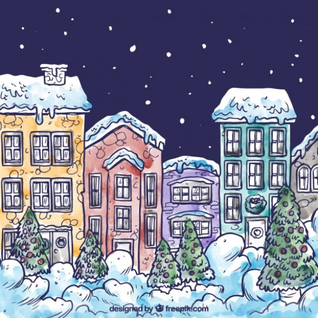 Free vector Hand drawn snowy village #25457