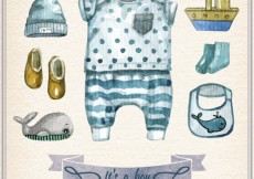 Free vector Hand painted baby boy clothing #27705