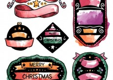 Free vector Hand painted christmas badges #25453