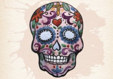 Free vector Hand painted mexican sugar skull #24758