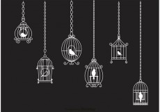 Free vector Hanging White Vintage Bird Cage Chain Vector #23489