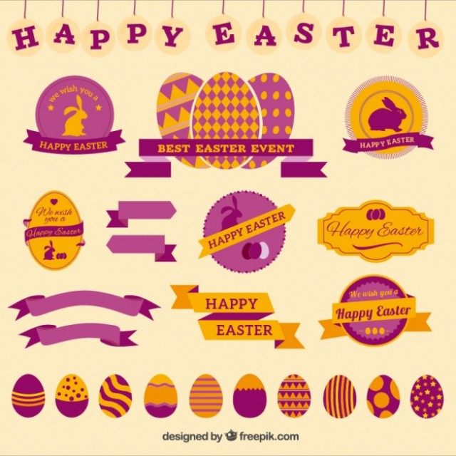Free vector Happy easter badges #22276