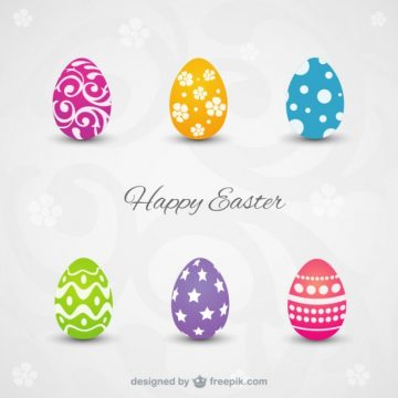 Free vector Happy easter card with colorful eggs #22274