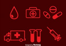 Free vector Hospital Red Icons #20759