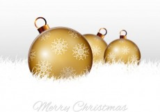 Free vector Merry christmas background with golden baubles #20440
