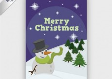 Free vector Merry christmas card with a snowman #25259