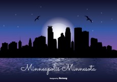 Free vector Minneapolis Night Skyline Illustration #26244