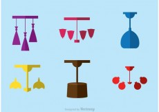 Free vector Modern Chandelier Flat Icons Vector #23492