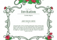 Free vector Ornamental invitation with flowers #22110