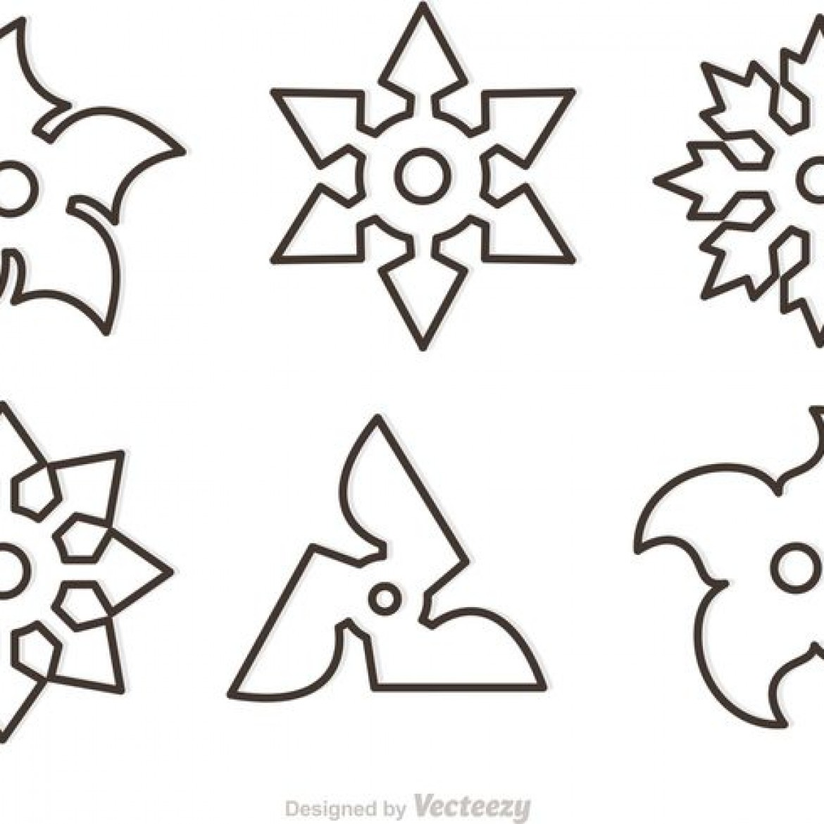 Ninja Star Template Free vector Outline Ni...