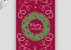 Free vector Red christmas poster with a garland #25263