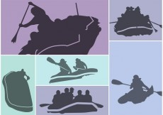 Free vector River Rafting Silhouette Vector Set #21255