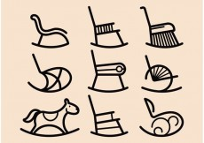 Free vector Rocking Chair Vector Icons #23402