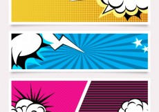 Free vector Set of comic banners #20536