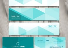Free vector Set of mint polygonal business stationery #25571