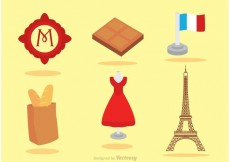 Free vector Set Of Paris Icons Vector #22724
