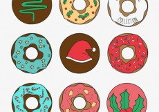 Free vector Sketchy christmas donuts collection #26195