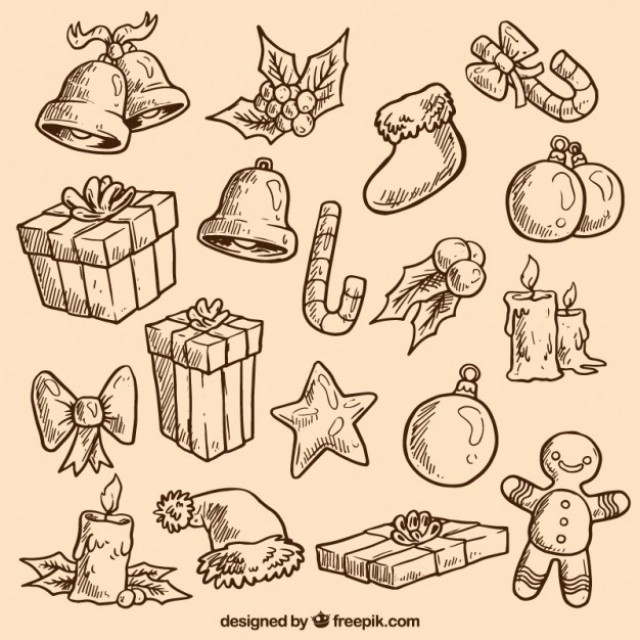Free vector Sketchy christmas elements #25461