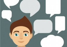 Free vector Speech bubbles and man #22399