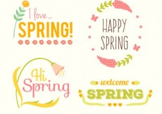 Free vector Spring labels collection #21469