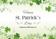 Free vector St Patricks day card with shamrocks #20888