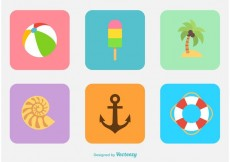 Free vector Summer & Beach Flat Icon Vectors #23210