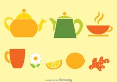 Free vector Tea Set Colors Vectors #26422