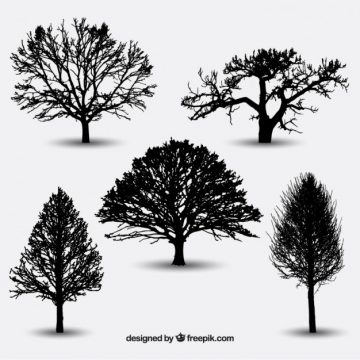 Free vector Variety of tree silhouettes #25243