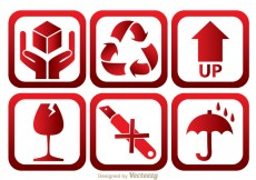 Free vector Fragile Red And White Icons #24273