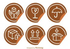 Free vector Fragile Sticker With Hand Drawn Icons #24395