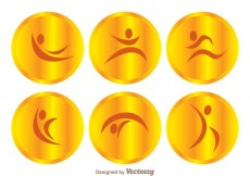 Free vector Vector Gold Gymnast Icons #25468