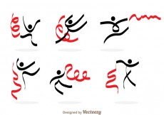 Free vector Gymnast With Ribbon Icons #25482