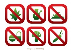 Free vector No Drugs Round Square SIgn Icons #24717