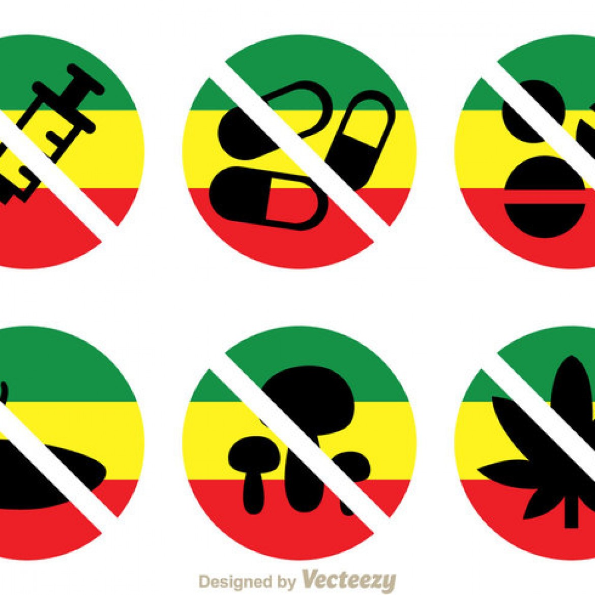 Free Vector No Drugs With Rasta Colors Icons 24693 My Graphic Hunt