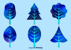 Free vector Watercolor blue trees #20789