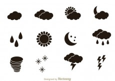 Free vector Weather Black Icons #25624