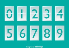 Free vector White Number Counter On Turquoise #20435