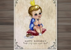 Free vector Watercolor Angel Birthday Card #27824