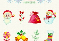 Free vector watercolour christmas elements #25977