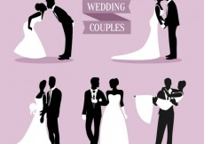 Free vector Wedding Couples Silhouettes Pack #27195