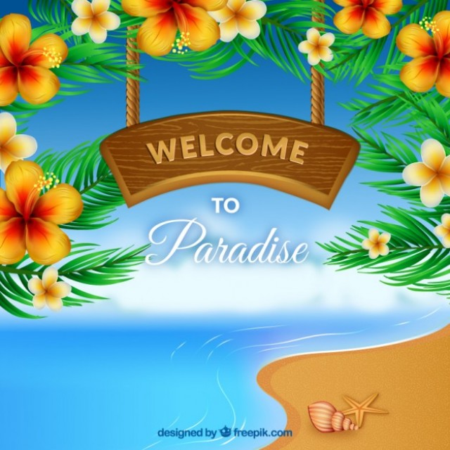 Free vector Welcome to paradise in a wooden signboard #21451