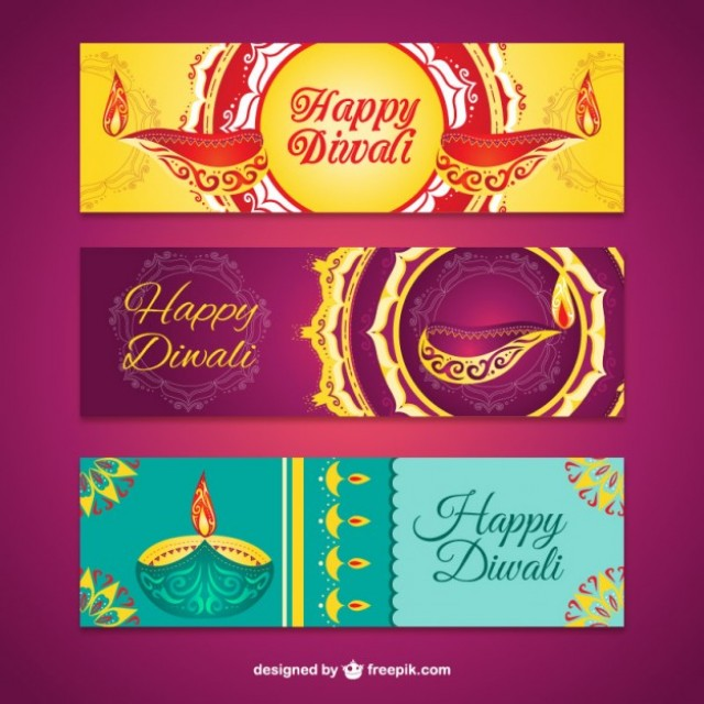 Free vector Abstract diwali banners #33549