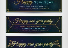 Free vector Art deco banners for new year party #32036