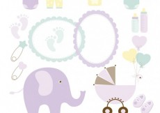 Free vector Baby shower collection #29383