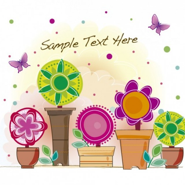 Free vector Background with colorful flowers in pots #33918