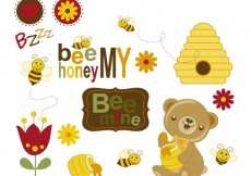 Free vector Bees and bear with honey #29339