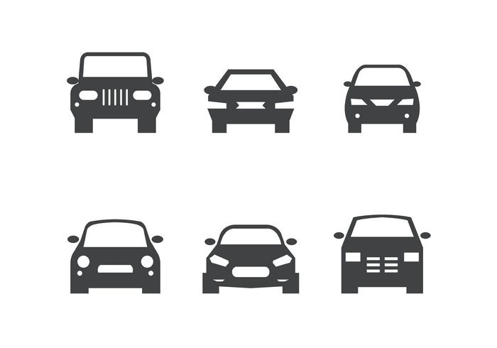 free vector black car front silhouettes  34144