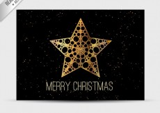 Free vector Black christmas card with q golden star #30857