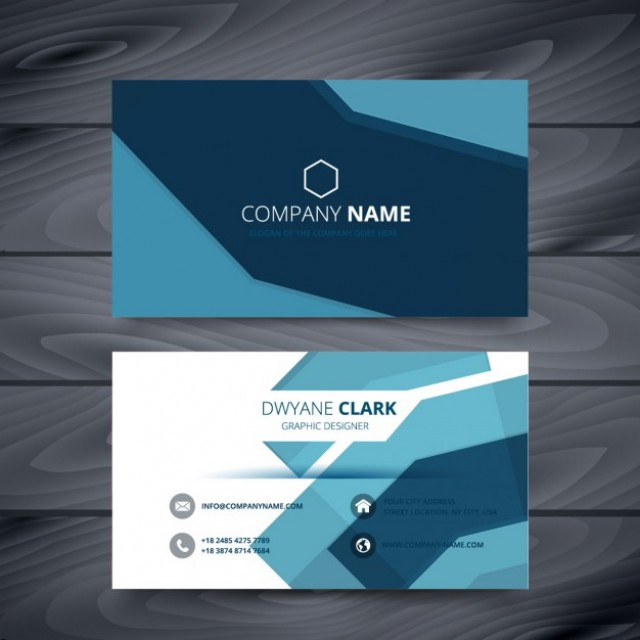 Free vector blue business card abstract template #33649