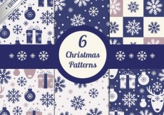 Free vector Blue christmas patterns collection #31729